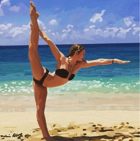 Standing Bow Pose on a Florida Beach