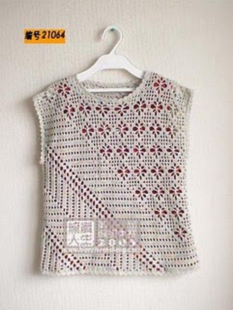 Crochê e outras coisitas: Blusas de crochê mesclada e cru