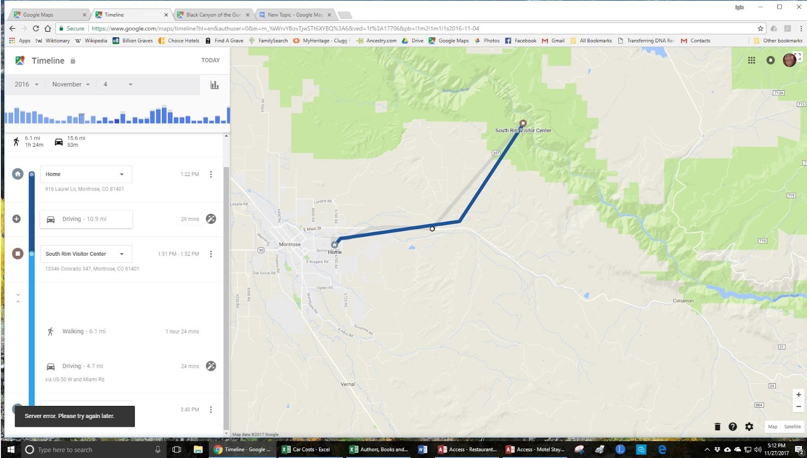 Server error  Please try again later  - Google Maps Help