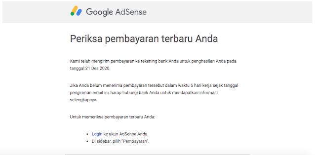 Notifikasi Pembayaran dari Google Adsense di Email - hostze.net