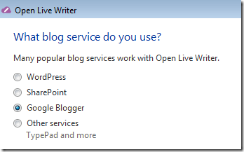 Blogger Option in Open Live Writer