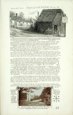 A Record of Shelford Parva by Fanny Wale P40 fo. 41, page 40: Church and Rectory. At the top of the page is a black and white watercolour of Webb's cottage next to the Chequers pub with a description of it, of Gall's Cottages, and the public house. There is a postcard at the bottom showing Galls house and cottages, - chequers pub; Rose cottage and post office, 1915.  [fo.37]