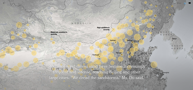 Map showing areas of moderate and high sandstorm severity in the deserts across China. Graphic: The New York Times