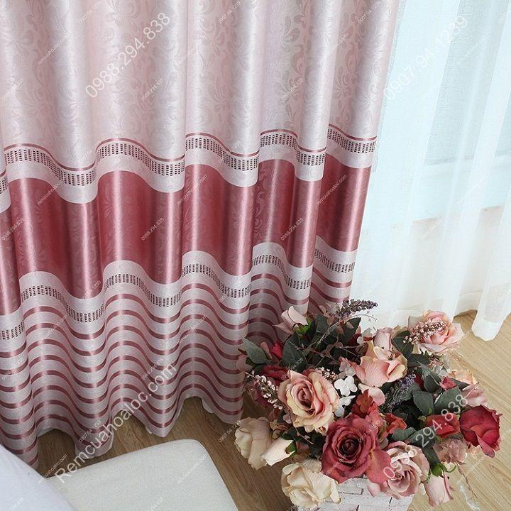Rèm cửa cao cấp đẹp một màu có diềm hồng 8