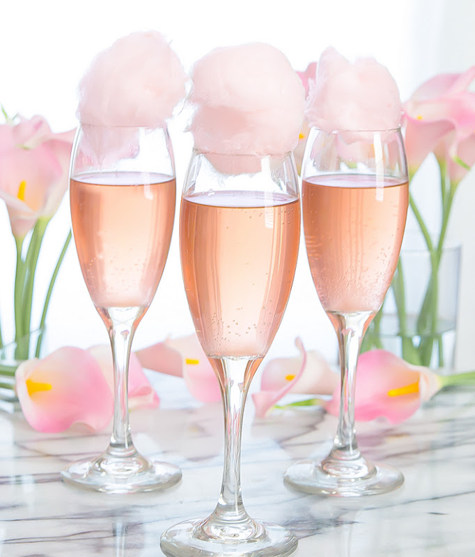 three glasses of Cotton Candy Champagne Cocktails