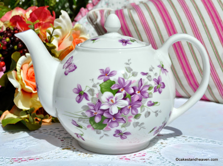 Aynsley English Violets 2 Pint Teapot