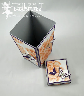 Stampin' Up! - Teebeutelspender, tea bag dispenser, Papillon Potpourri, butterflies, Schmetterlinge, DSP Farbenwunder, DSP Watercolor Wonder