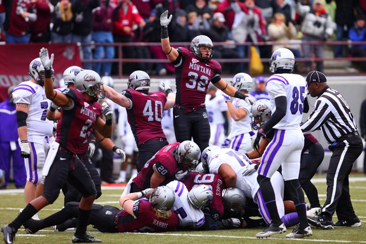 The Grizzlies' defense recovers a fumble by the Central Arkansas Bears.
