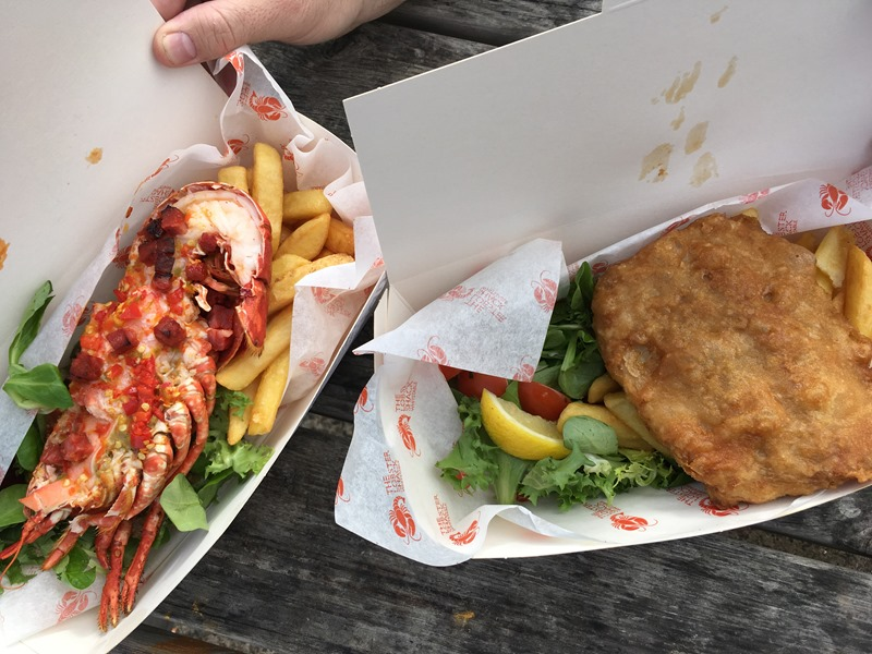 Half Lobster Tail and Battered Local Skate Wing at Lobster Shack, Whitstable