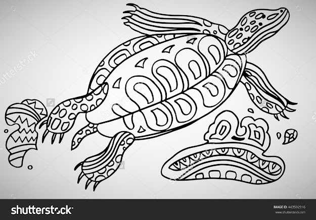 Turtle Handdrawn With Ethnic Pattern Coloring Page  Isolated On White
