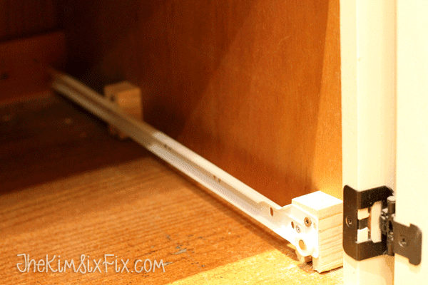 Adding blocks to support drawer slides on full panel cabinets