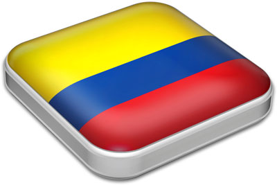 Flag of Colombia with metallic square frame