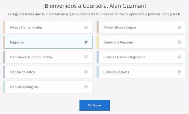 Mensaje de bienvenida en Coursera