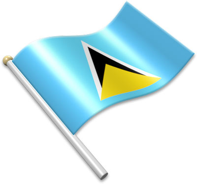The Saint Lucian flag on a flagpole clipart image