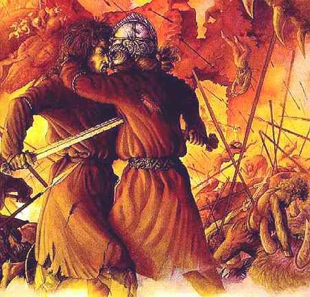Loki And Heimdall At Ragnarok, Asatru Gods And Heroes