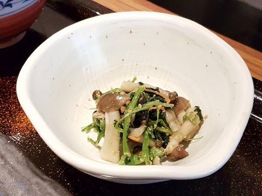 Veggie side dish for chicken teriyaki teishoku at YAYOI