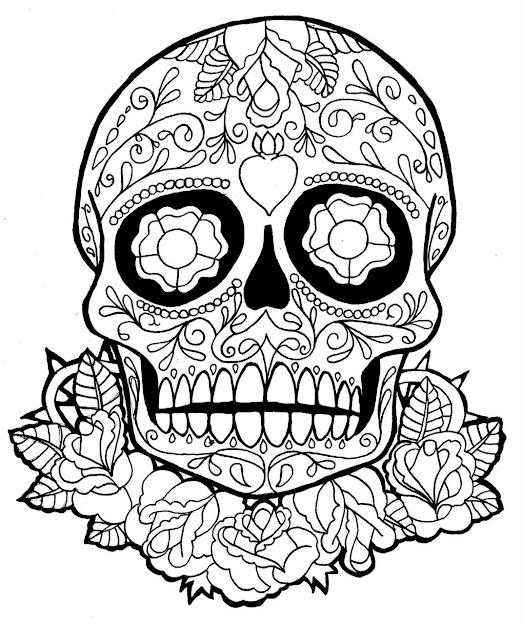Skull Coloring Pages For Teen  Sugar Skull Dia De Los Muertos Tattoo  Sample  Tattoobite