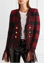 Balmain Tartan Knit Blazer