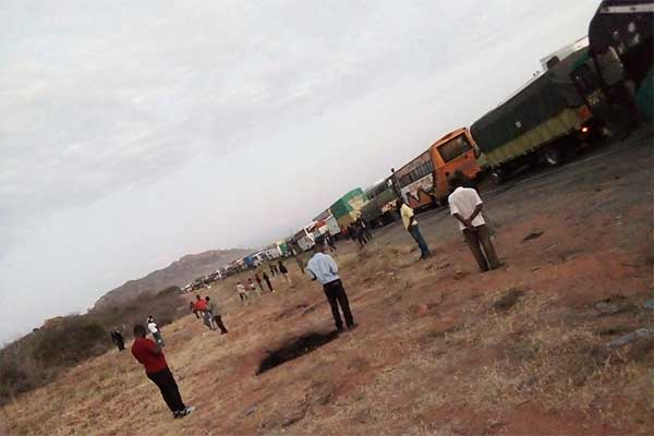 Motorists spent a night at Tsavo National park. PHOTO| NMG