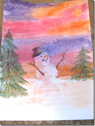 Watercolor painting with crayon resist and salt magic 1