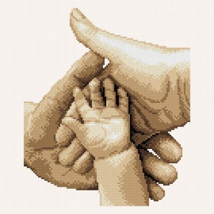 schema punto croce famiglia unita. mani di madre, padre e neonato