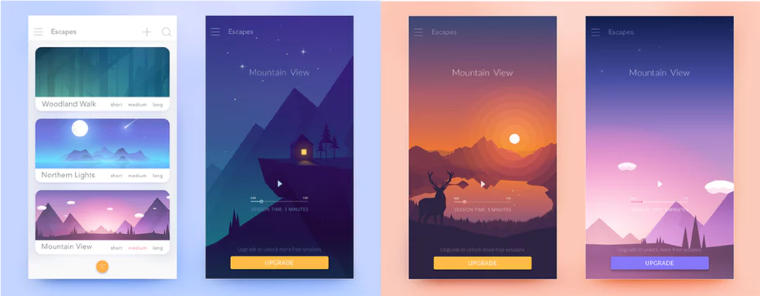 Gradients with depth - UI design trends in mobile