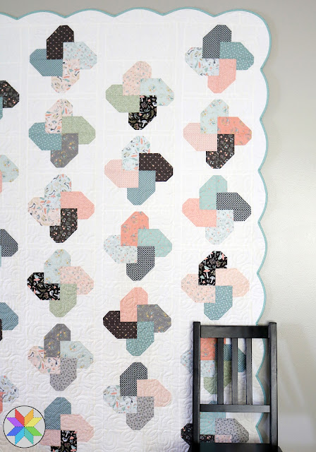 Winsome quilt by A Bright Corner - love the scalloped border - she share a helpful tutorial for how to add a scallop edge on a quilt