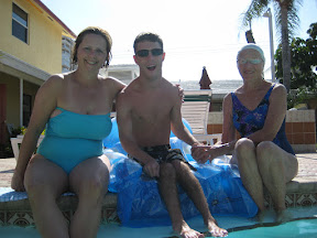 Arla, Michael, and Mrs. Peters at the pool