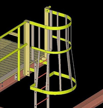 SDS2 Model of Industrial Caged Ladder Yellow