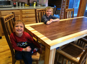 90″ x 36″ Custom Harvest/Phoenix Table and Raised Mission Chairs in Natural Hickory and Walnut