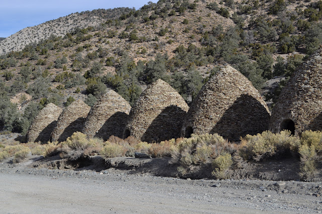charcoal kilns lined up beside the road