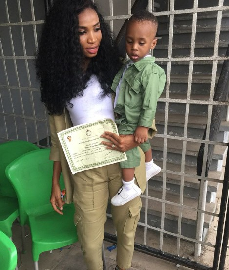 Female Corper Dresses Up Her Little Son In NYSC Outfit As She Passe Out