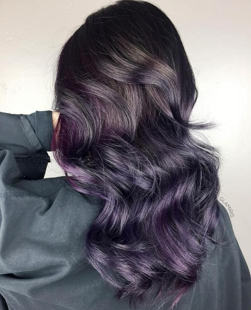 Plum hair color a beautiful contrast for woman 2018 5