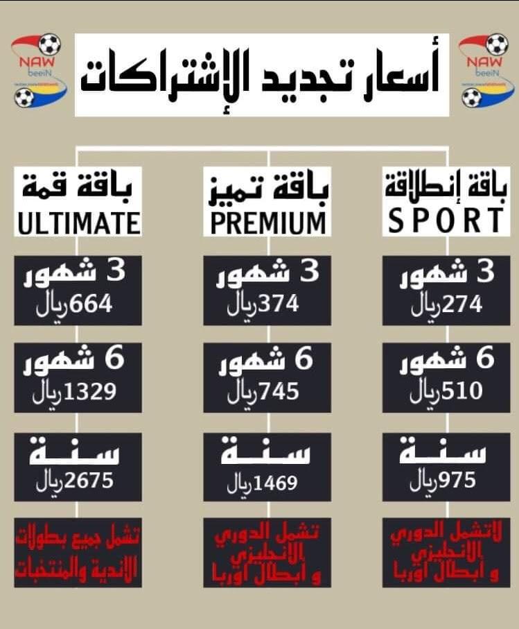 اسعار اشتراكات  bein sport الجديده في السعوديه 2021