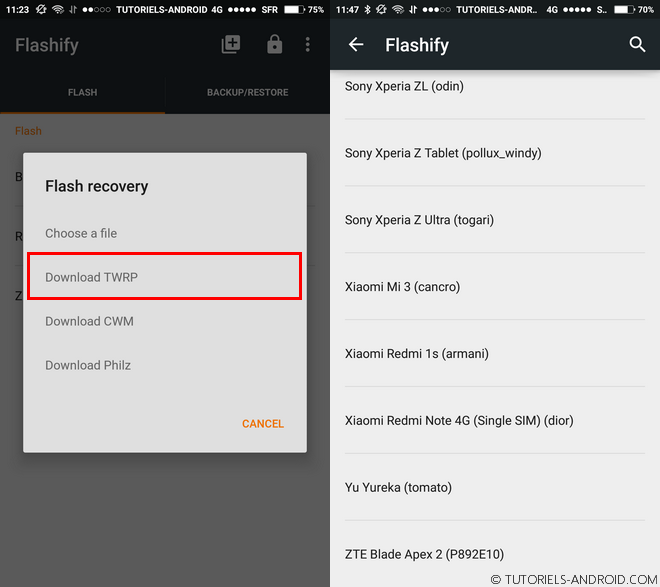Installer automatiquement un recovery custom avec Flashify