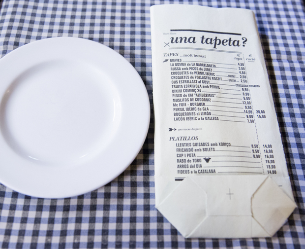 photo of a plate and the menu