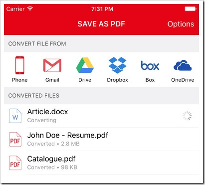 save as PDF ios application