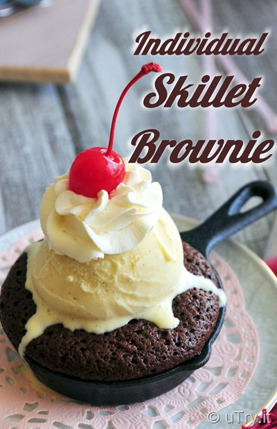 Individual Skillet Brownies with Vanilla Ice Cream – Valentine's Day Dessert Recipe Idea  http://uTry.it