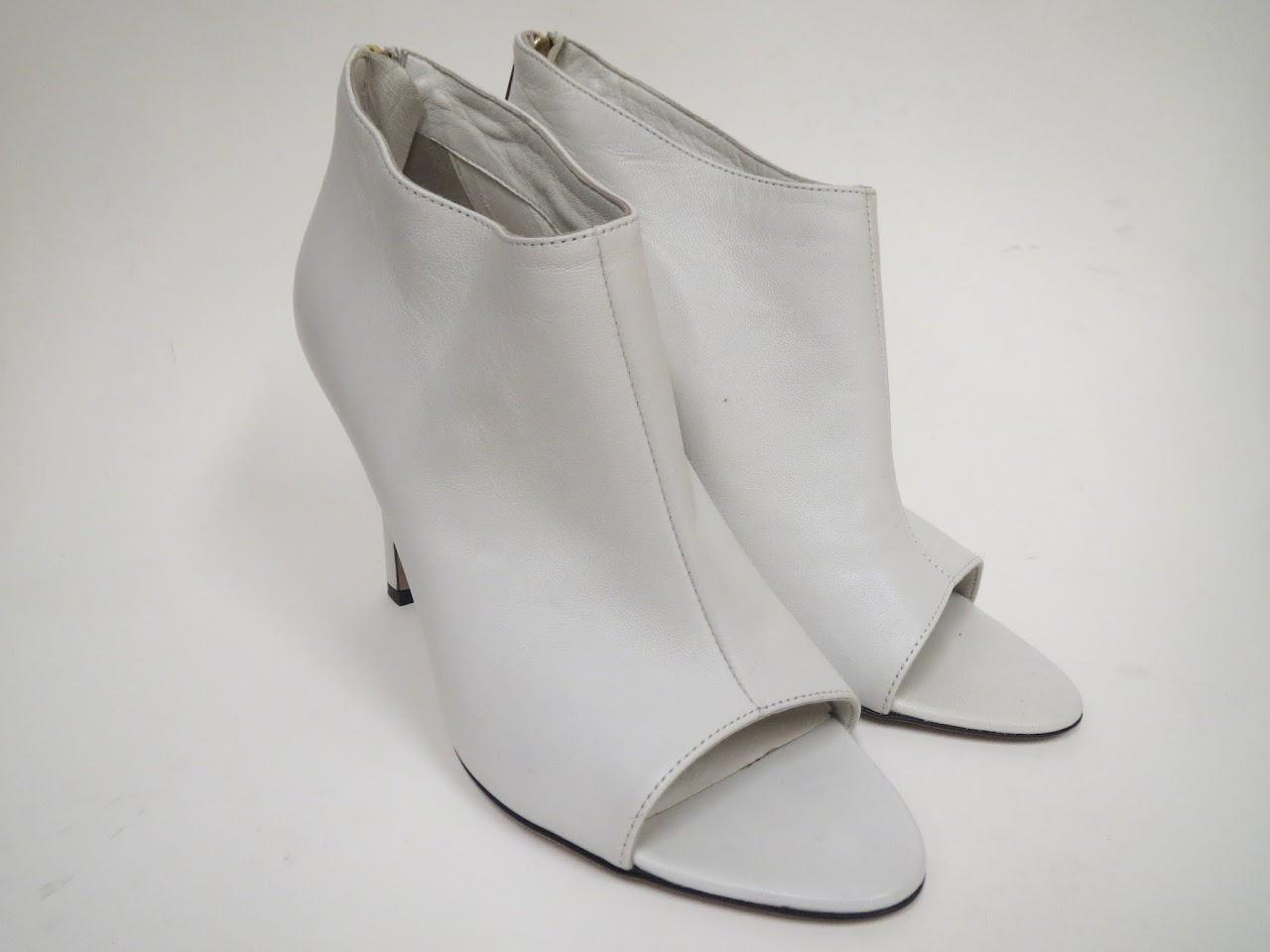 Tamara Mellon White Peeptoe Boots