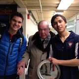 Boys tournament champions Edward Columbia (U19) and Cody Cortes (U17) with Frank Millet shortly after the event.  Edward and Cody played as the #1s for Belmont Hill and Milton in a high school league match on 2/20, and Mr. Millet was on hand as he usually is to watch his Milton team play.  Edward won this one, 3-0.