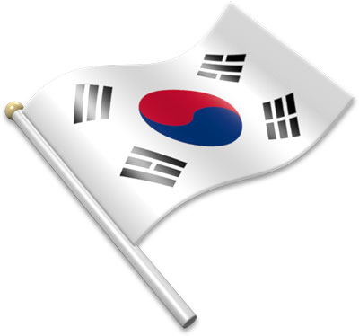 The South Korean flag on a flagpole clipart image
