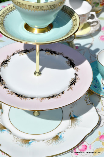 unique duck egg blue and pale pink three tiered vintage cake stand