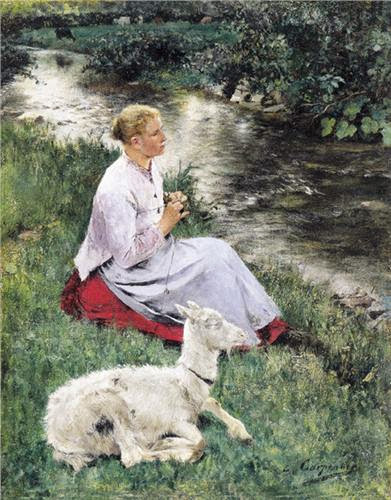 Evariste Carpentier - Breiende herderin met geitje