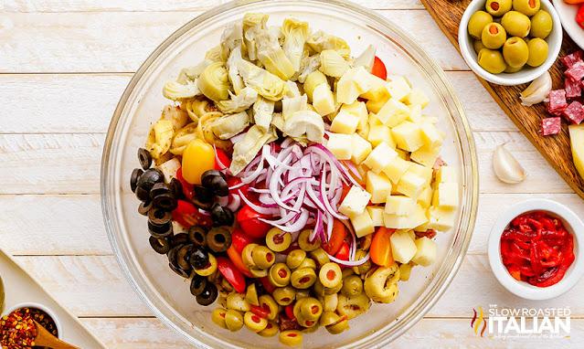 Antipasto Salad ingredients in a bowl