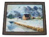 Oil Painting Snowy Farm in the Rockies by Emily Faw Thumbnail