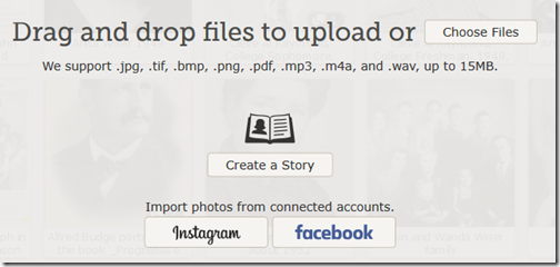 Options to upload from Instagram and Facebook