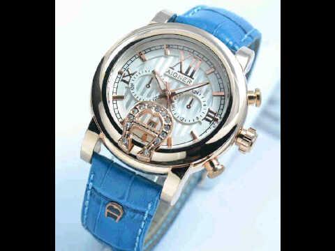 Jual jam tangan Aigner romawi ring polos blue