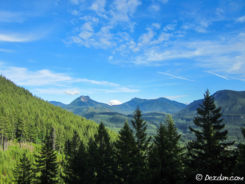 The view from just above Layser Cave. Mount Adams peeking over the nearby ridge.