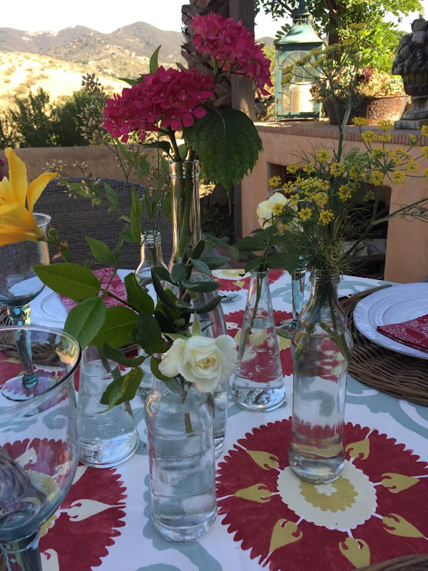 summer table by the pool