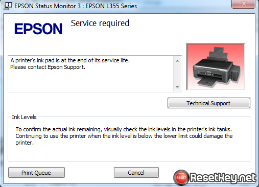 Epson R285 problem A printer's ink pad is at the end of its service life. Please contact Epson Support